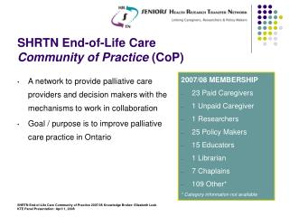 SHRTN End-of-Life Care Community of Practice  (CoP)