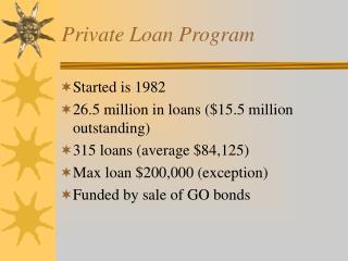 Private Loan Program