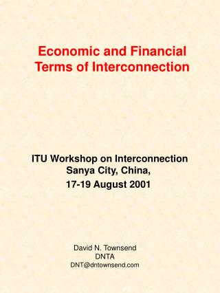 Economic and Financial Terms of Interconnection
