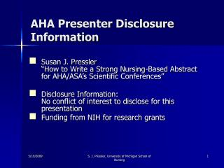 AHA Presenter Disclosure Information