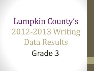 Lumpkin County's 2012-2013  Writing  Data Results