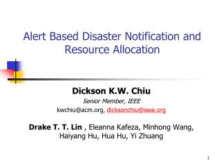 Alert Based Disaster Notification and Resource Allocation