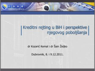 Kreditni rejting u BiH i perspektive njegovog pobolj�anja