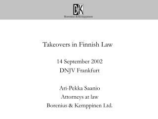 Takeovers in Finnish Law