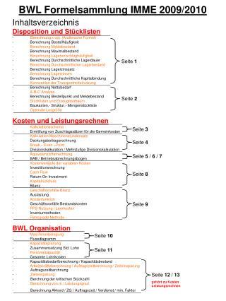 BWL Formelsammlung IMME 2009