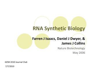 RNA Synthetic Biology
