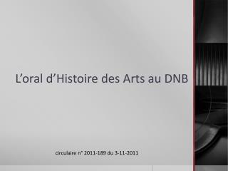 L�oral d�Histoire des Arts au DNB