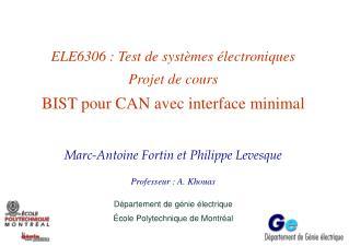 ELE6306 : Test de systèmes électroniques Projet de cours BIST pour CAN avec interface minimal
