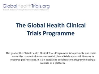 The Global Health Clinical Trials Programme