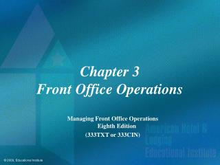Chapter 3 Front Office Operations