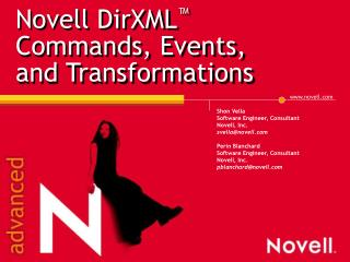 Novell DirXML ™  Commands, Events,  and Transformations