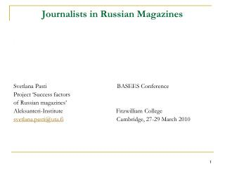 Journalists in Russian Magazines