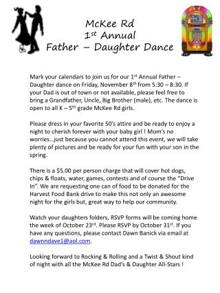 McKee Rd  1 st  Annual  Father – Daughter Dance