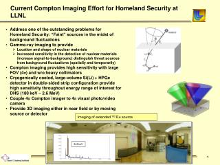 Current Compton Imaging Effort for Homeland Security at LLNL