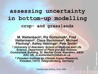 assessing uncertainty in bottom-up modelling crop- and grasslands