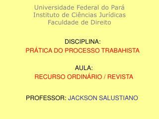 Universidade Federal do Pará Instituto de Ciências Jurídicas Faculdade de Direito