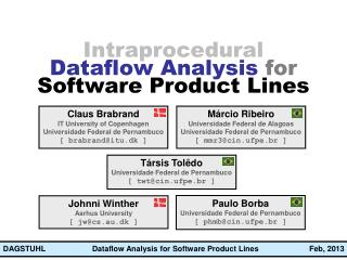Intraprocedural Dataflow Analysis  for Software Product Lines