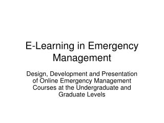 E-Learning in Emergency Management