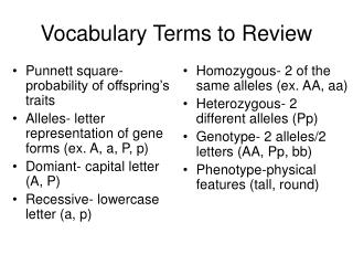 Vocabulary Terms to Review