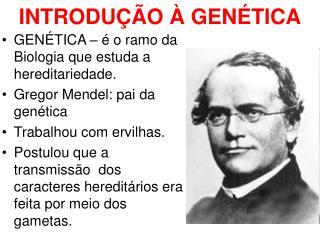 GENÉTICA – é o ramo da Biologia que estuda a hereditariedade. Gregor Mendel: pai da genética
