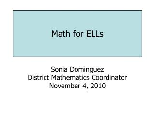 Math for ELLs