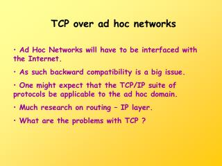 TCP over ad hoc networks