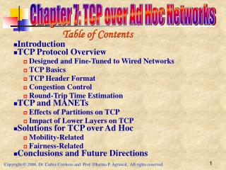 Chapter 7: TCP over Ad Hoc Networks