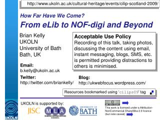 How Far Have We Come? From eLib to NOF-digi and Beyond