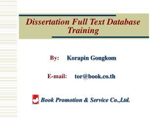 Dissertation Full Text Database Training