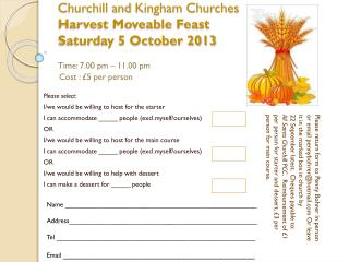 Churchill and  Kingham  Churches Harvest Moveable Feast Saturday 5 October 2013