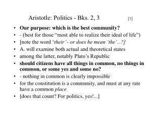 Aristotle: Politics - Bks. 2, 3 [ 1 ]