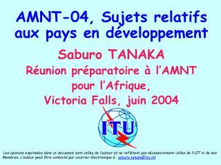 AMNT-04, Sujets relatifs aux pays en développement Saburo TANAKA Réunion préparatoire  à l' AMNT