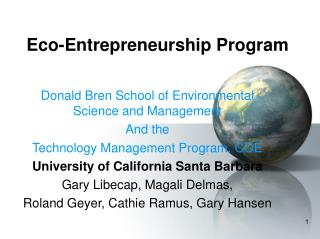 Eco-Entrepreneurship Program