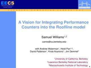 A Vision for Integrating Performance Counters into the Roofline model