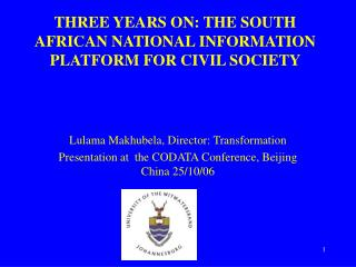 THREE YEARS ON: THE SOUTH AFRICAN NATIONAL INFORMATION PLATFORM FOR CIVIL SOCIETY