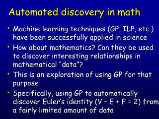 Automated discovery in math