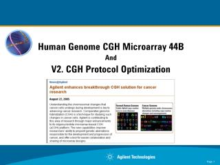 Human Genome CGH Microarray 44B And V2. CGH Protocol Optimization