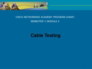 CISCO NETWORKING ACADEMY PROGRAM (CNAP) SEMESTER 1/ MODULE 4