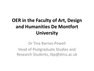 OER in the Faculty of Art, Design and Humanities De Montfort University