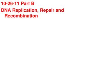 10-26-11 Part B DNA Replication, Repair and Recombination