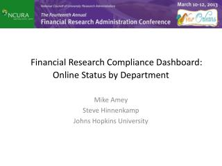 Financial Research Compliance Dashboard: Online Status by Department