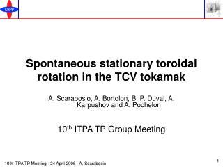 Spontaneous stationary toroidal rotation in the TCV tokamak