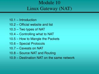 Module 10 Linux Gateway (NAT)