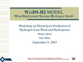 WinDS-H2 MODEL Wind Deployment Systems Hydrogen Model