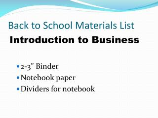 Back to School Materials List