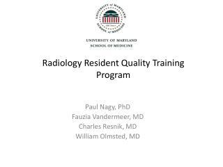 Radiology Resident Quality Training Program
