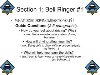 Section 1; Bell Ringer #1