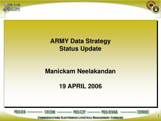 ARMY Data Strategy Status Update Manickam Neelakandan 19 APRIL 2006