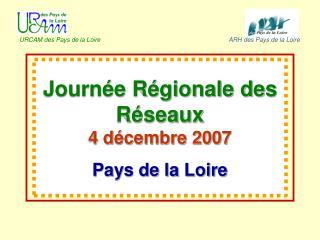 Journée Régionale des Réseaux  4 décembre 2007 Pays de la Loire