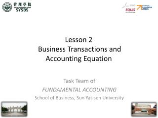 Lesson 2  Business Transactions and Accounting Equation